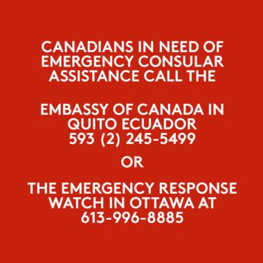 CANADIANS IN ECUADOR / CANADIENS EN ÉQUATEUR (COVID-19)